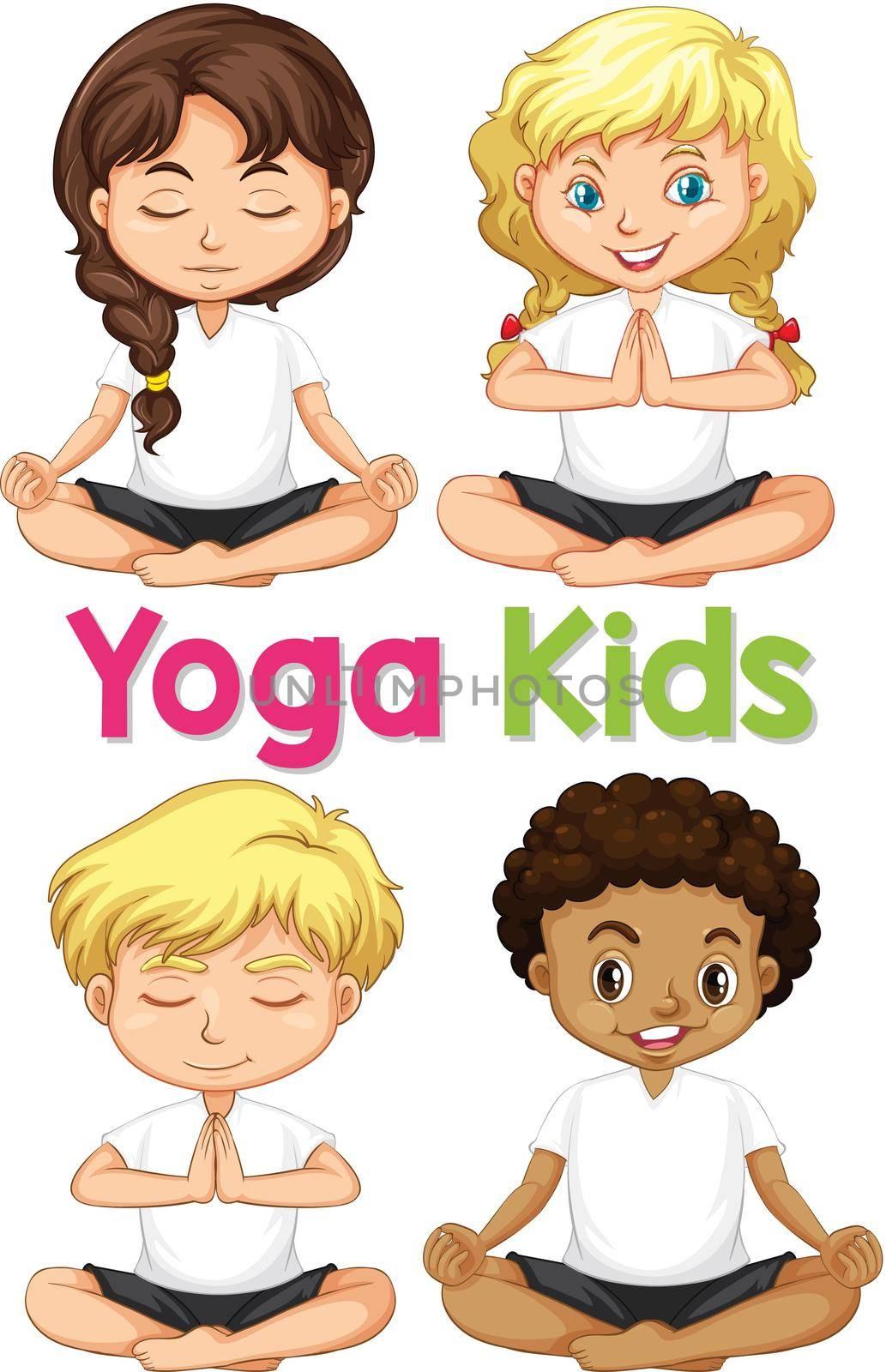 Set of yoga kids illustration