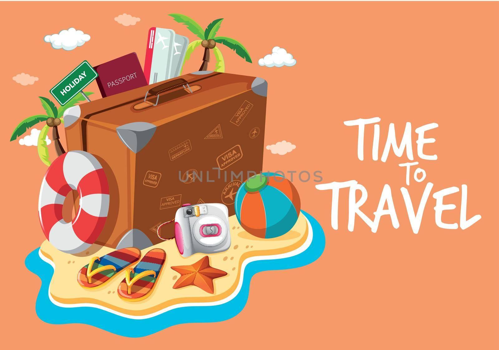 Set of travel object template illustration