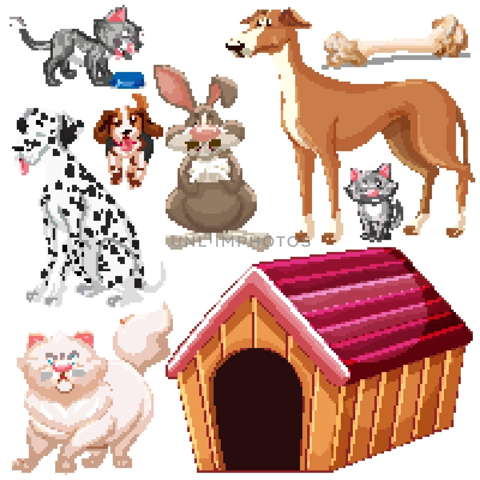 Set of isolated different pets illustration