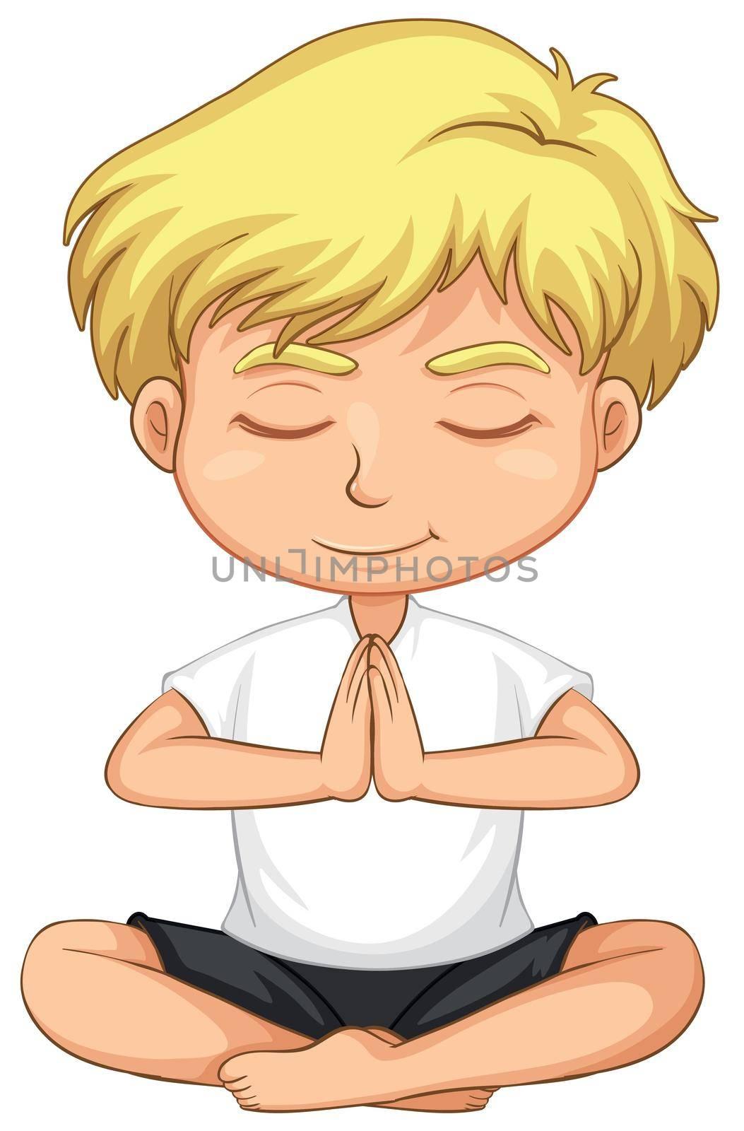 Happy boy yoga pose illustration