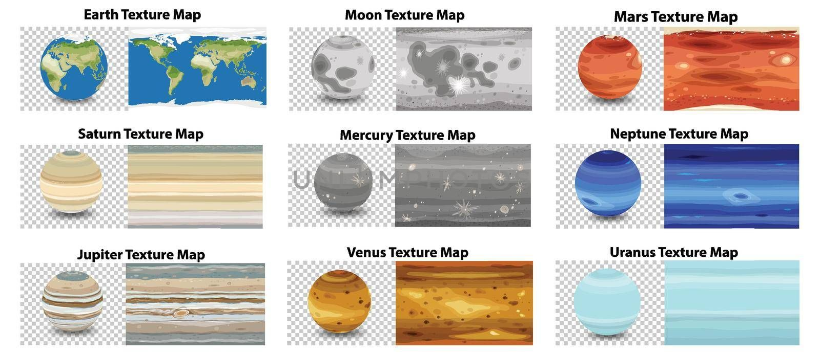 Set of different planet texture map illustration