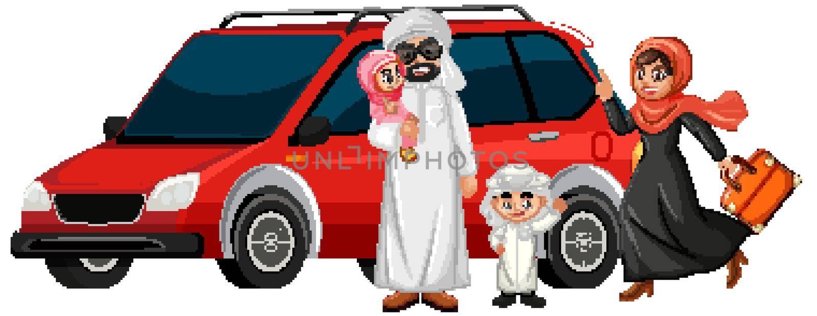 Arabian family on holiday illustration