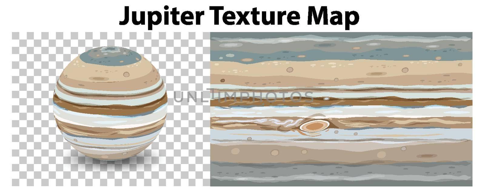 Jupiter planet on transparent with Jupiter texture map illustration