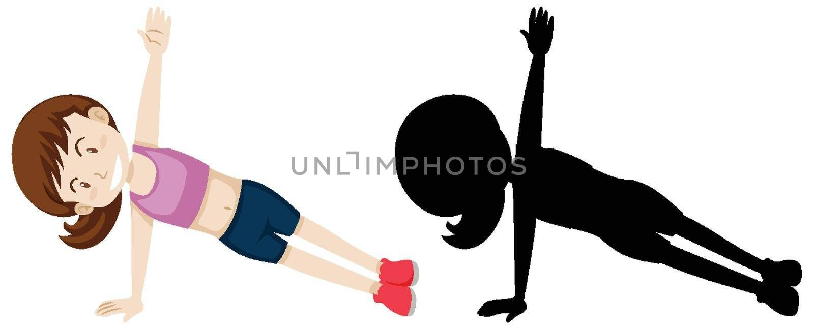 Young woman doing yoga in colour and silhouette illustration