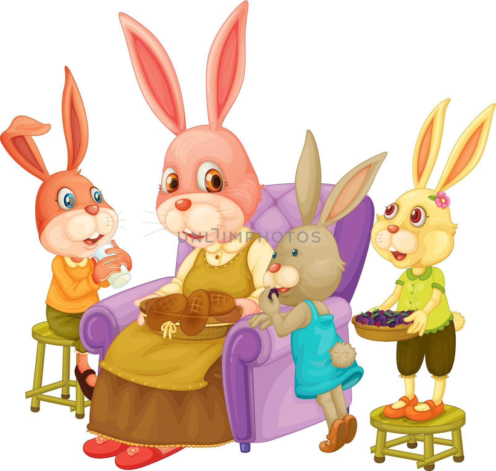 Illustration of family of rabbits