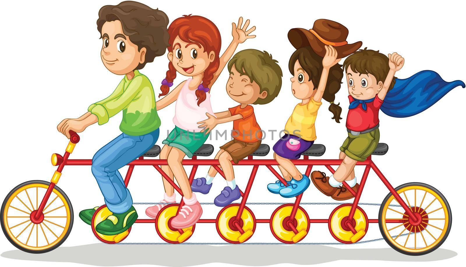 Family teamwork on a multiple seat bike