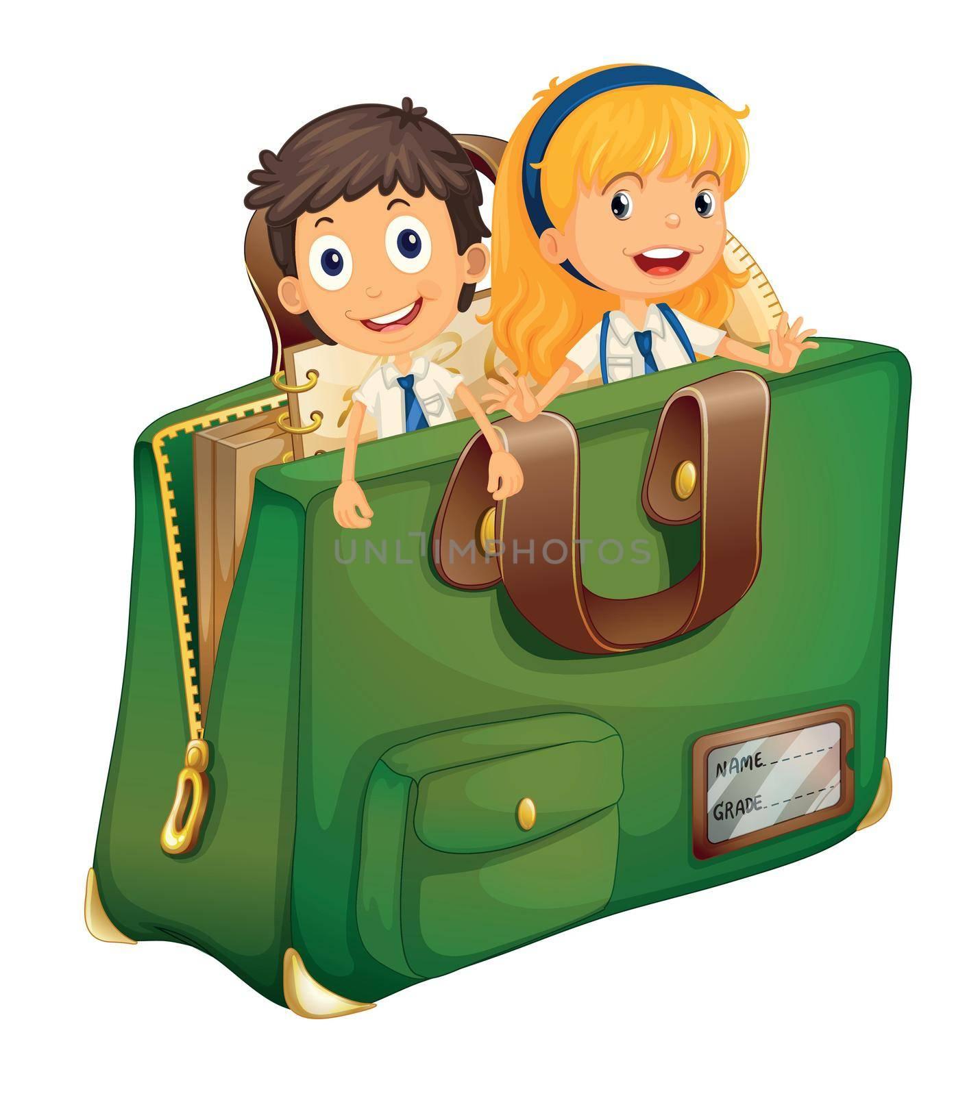 Illustration of kids in a schoolbag