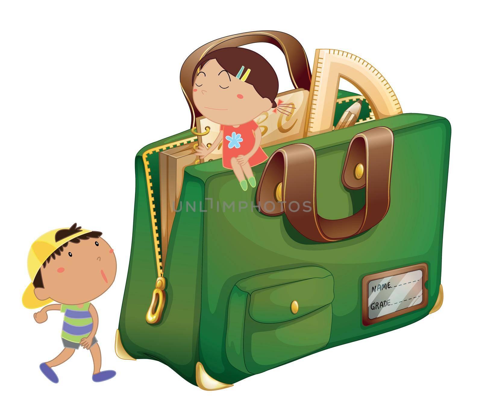 Illustration of kids around a schoolbag