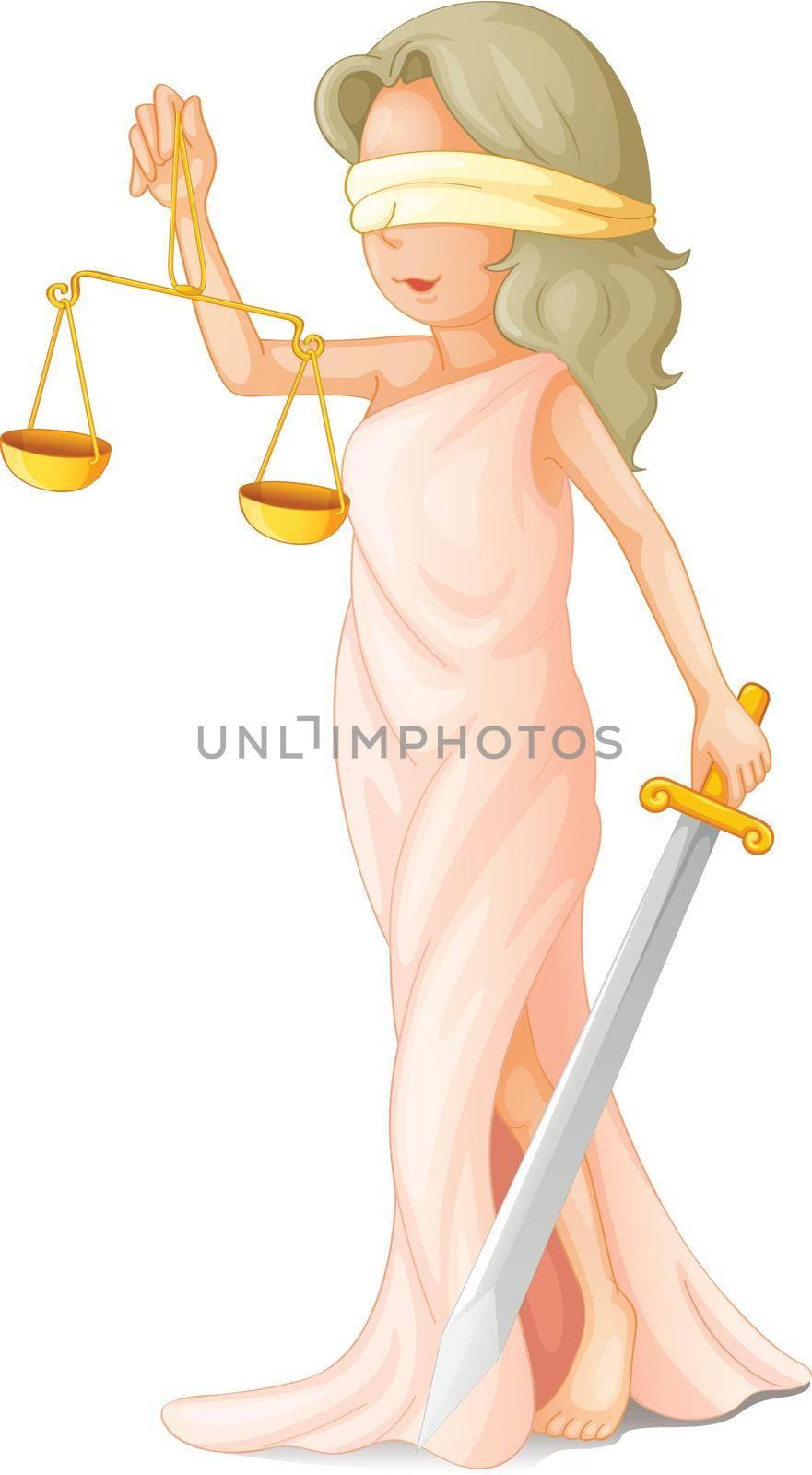 Illustration of blind justice concept