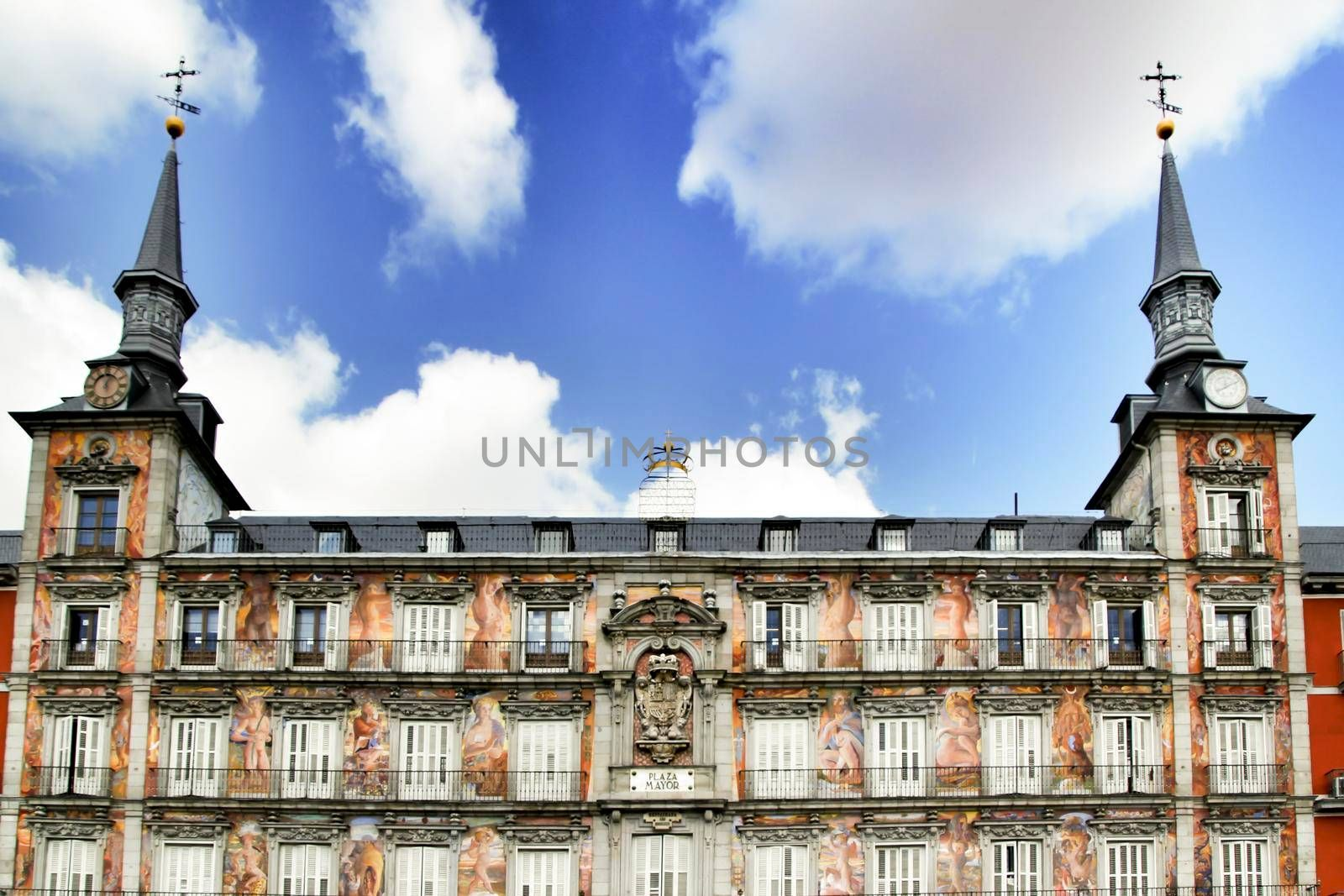 Beautiful main square in Madrid called Plaza Mayor with its majestic facades in a sunny day of Spring