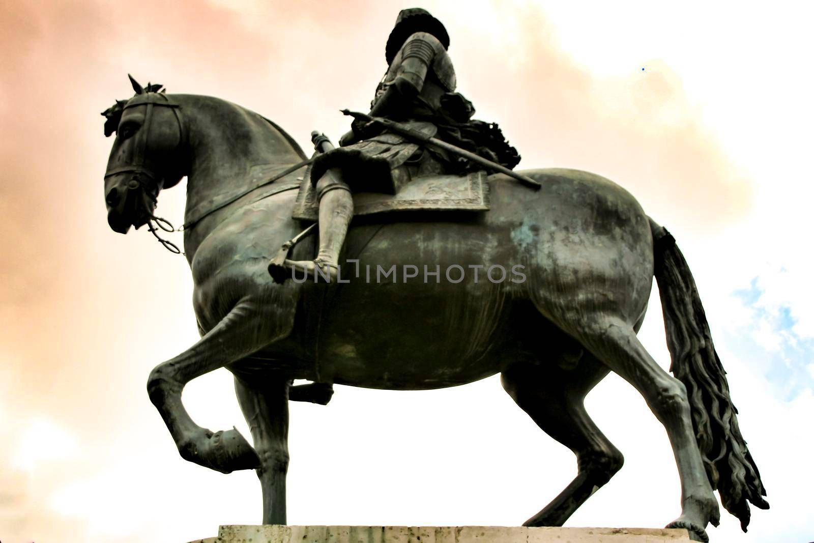 Beautiful equestrian statue of Felipe III in the main square in Madrid called Plaza Mayor