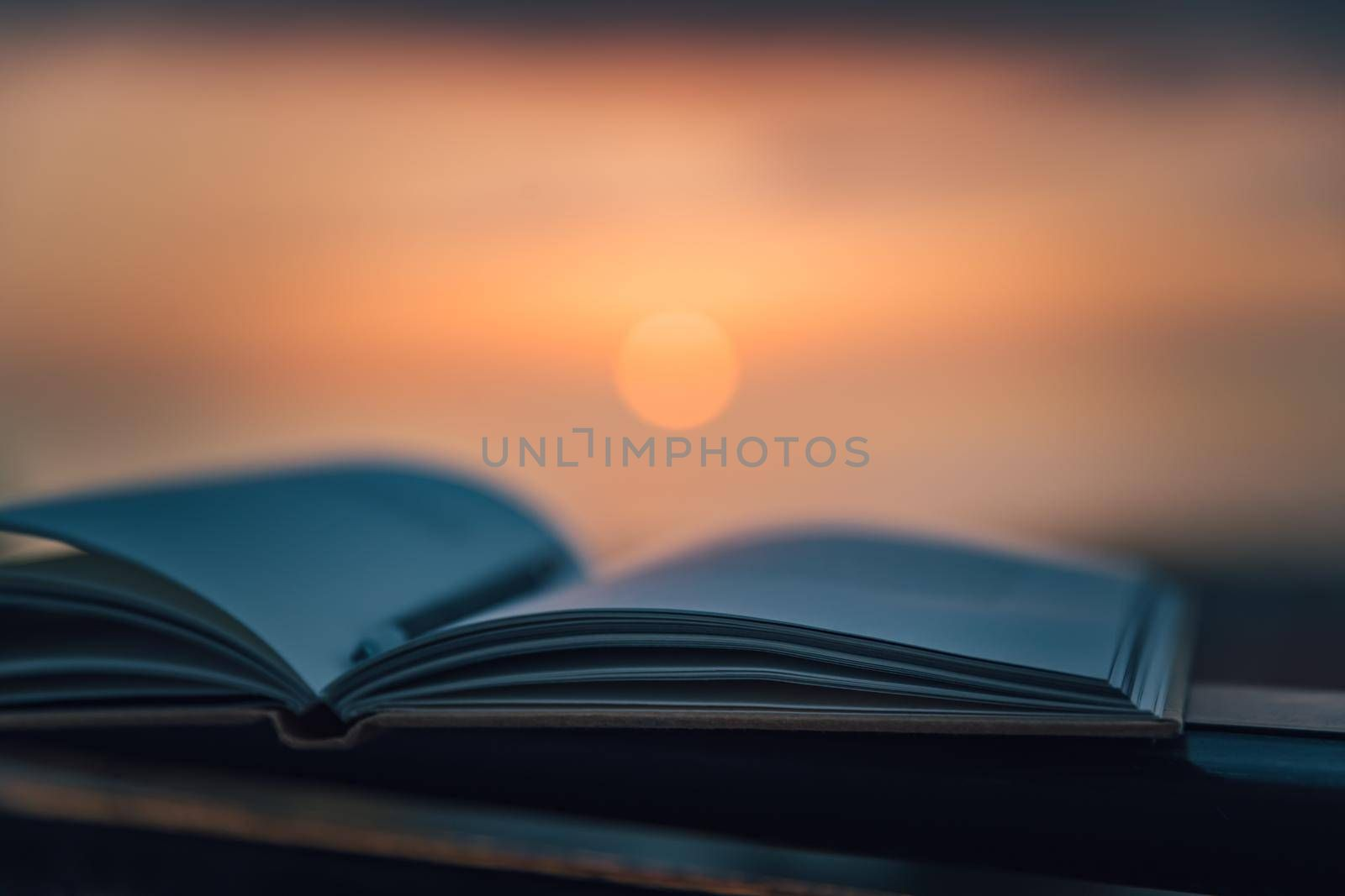 Warm Cozy Evening with an Interesting Book Outdoors. Mild Sunset Light. Pen to Mark the Most Important Things. Calm Pleasant Pastime.