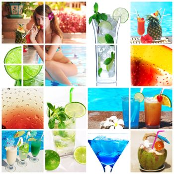 Collage background with cocktail and travel concept