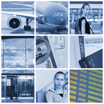 Collage with travel and transport concept