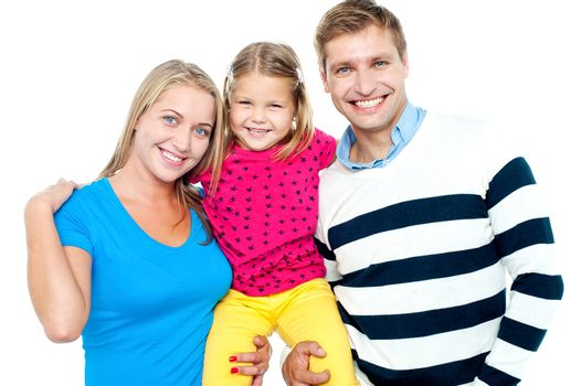 Family portrait on a white background. Complete family