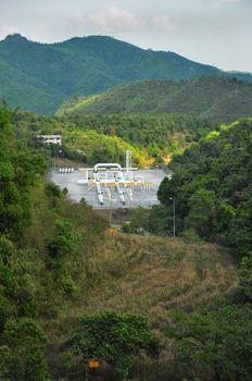 Oil transportation pipeline in forest