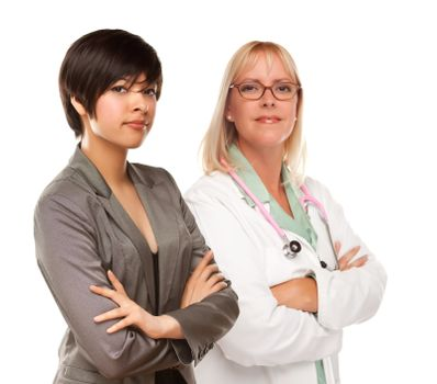Attractive Young Multiethnic Woman with Female Doctor or Nurse Isolated on a White Background.