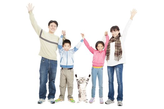happy family with pet