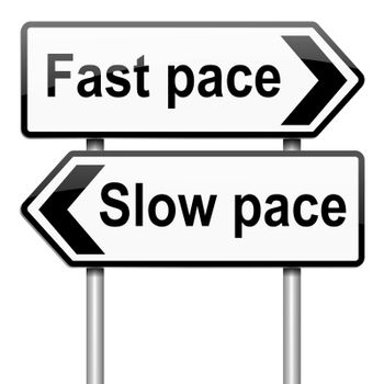 Illustration depicting a roadsign with a lifestyle pace concept. White background.