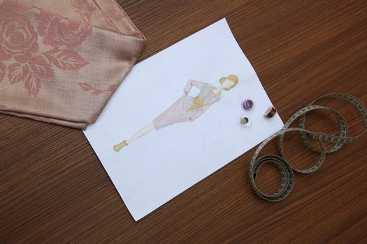 the collection of fashion drawings on clothes with colored pencils
