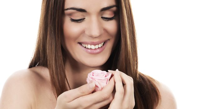 Beautiful woman with pink rose on white background, panoramic view