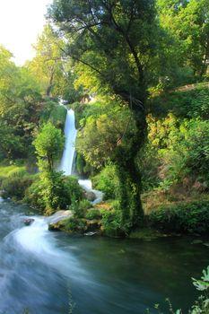 waterfall in antalya with sundown view lifestyle