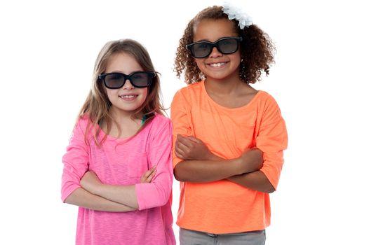 Fashion shot of two pretty smiling girls