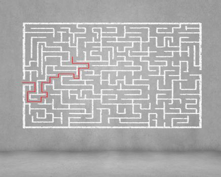 Drawn abstract maze against dark background. Finding solution