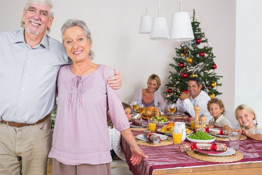 Smiling grandparents standing by the dinner table at christmas time