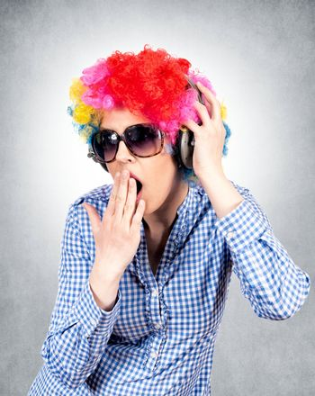 Female with abstract wig and headphones