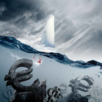 Sunken currency symbols with yacht floating above