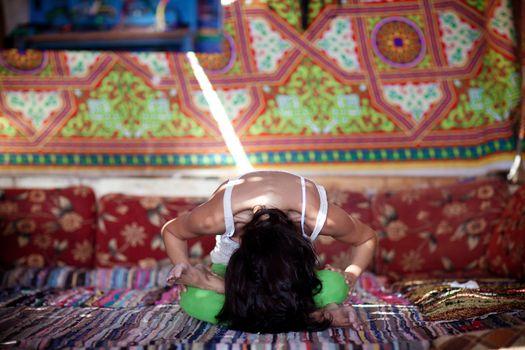 yoga inside with sunbeams