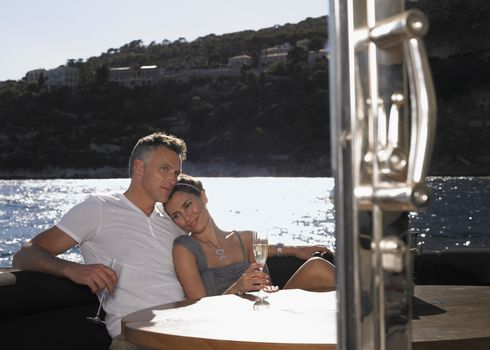 Romantic Couple On Yacht