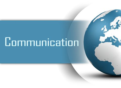 Communication concept with globe on white background