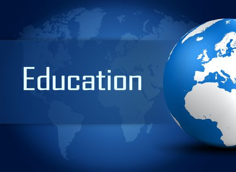 Education concept with globe on blue background