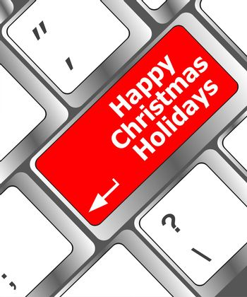 happy christmas holidays button on computer keyboard key