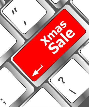 Computer keyboard with holiday key - xmas sale