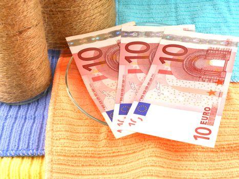 euro money set with vintage white bottle