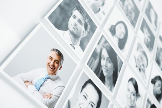 Portraits of a group of people smiling