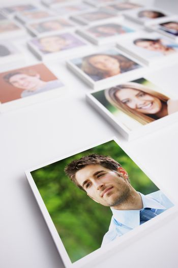 Portraits of a group of people, young business man on foreground
