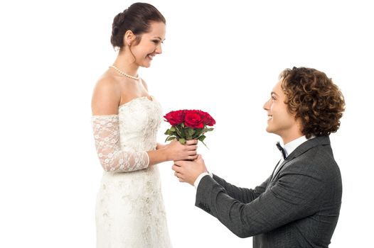Romantic proposal by a groom