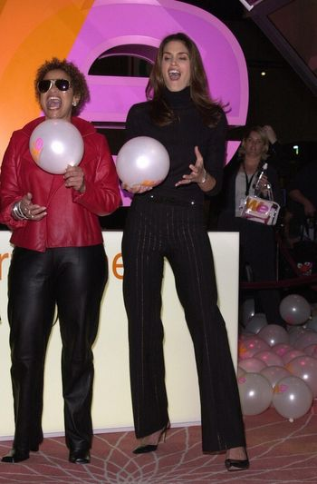Cindy Crawford and Debbie Allen at the unveiling of the new name for Romance Classics Television in Los Angeles, 11-29-00