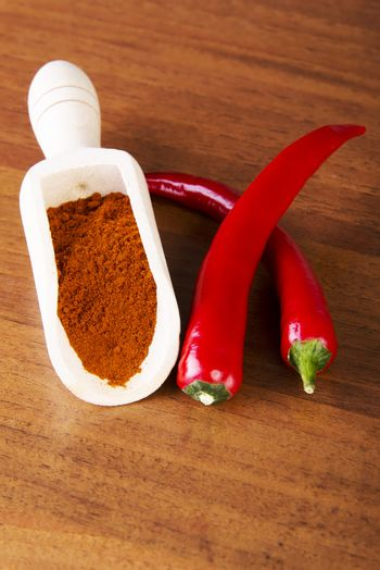 Two chili peppers with paprika spice lying on kitchen table.