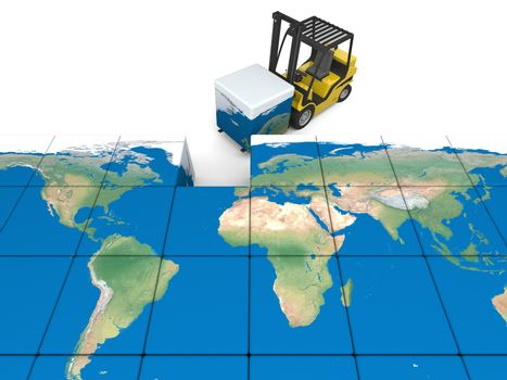 Concept of global transportation, modern yellow forklift carrying piece of global map, isolated on white background. Elements of this image furnished by NASA.