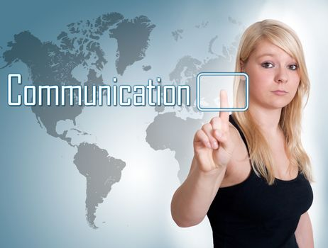 Young woman press digital Communication button on interface in front of her