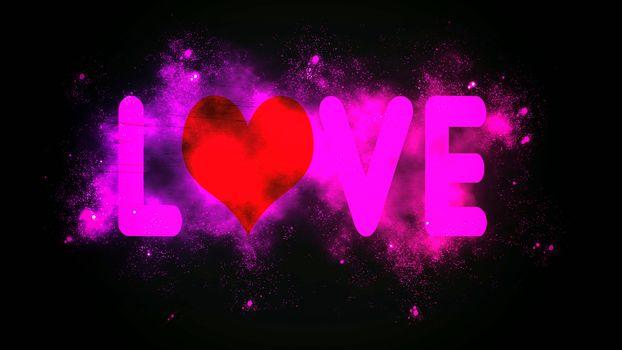Lighting love with purple stars around