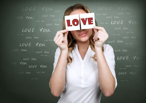 Girl with romantic thoughts, holding in hands greeting cards, congratulation with Valentine day, happy holiday for lovers