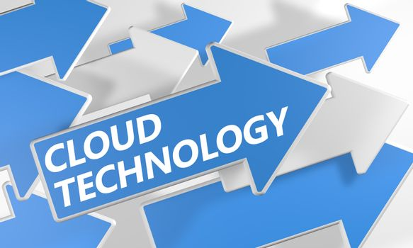 Cloud Technology 3d render concept with blue and white arrows flying over a white background.