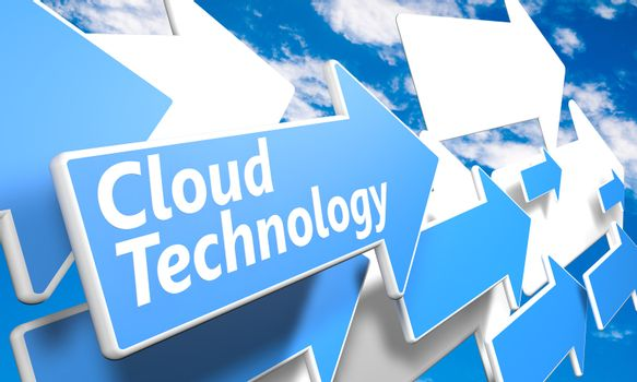 Cloud Technology 3d render concept with blue and white arrows flying in a blue sky with clouds