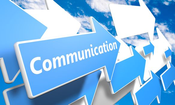 Communication 3d render concept with blue and white arrows flying in a blue sky with clouds